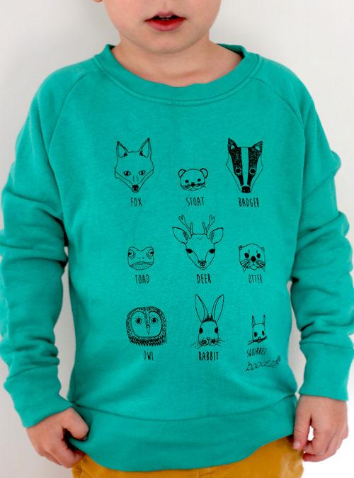 Kids animal faces sweater
