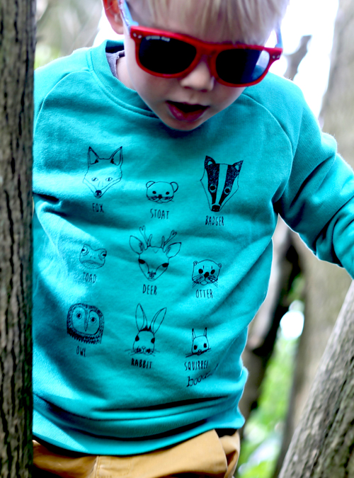 kids green organic animal faces kids sweater