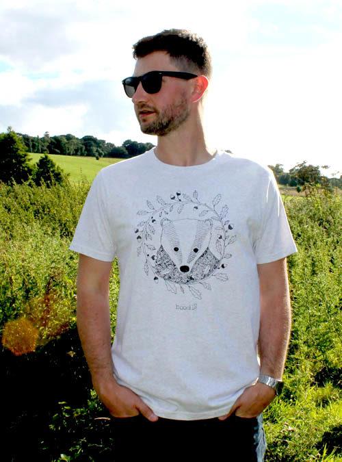 Mens organic Badger T-shirt