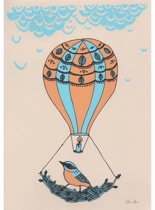 bird and balloon art print