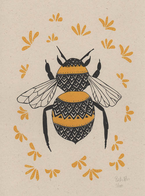 Relatively Bee and blossom art print – Boodle HI06