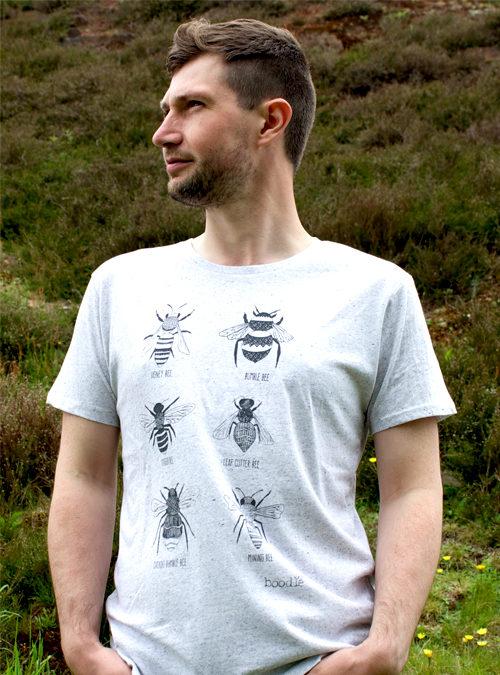 Bee T-shirt mens organic light grey T-shirt showing 6 varieties of bee