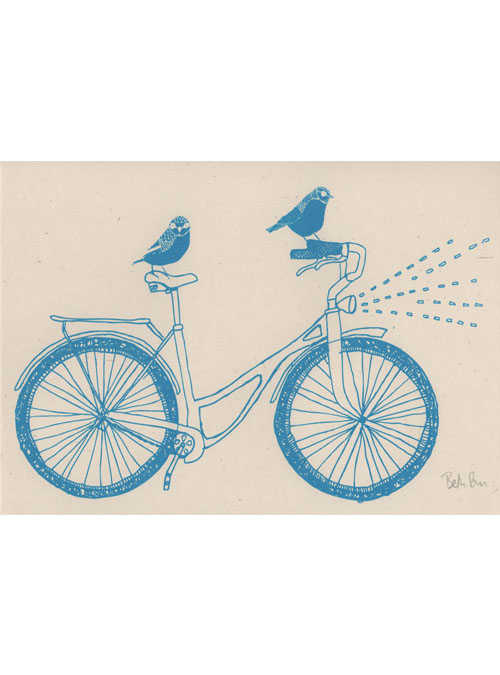 birds on a bike print scan