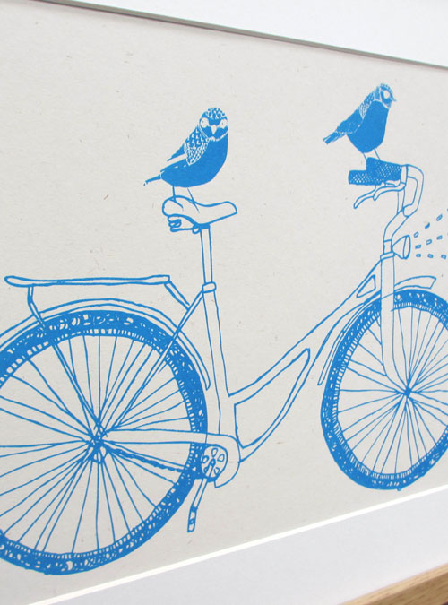 birds on a bike print close up