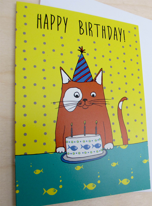 birthday cat card close up