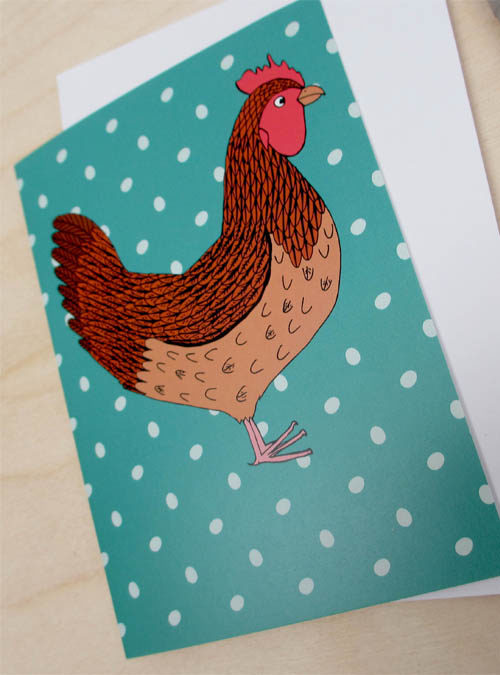 chicken and egg card close up
