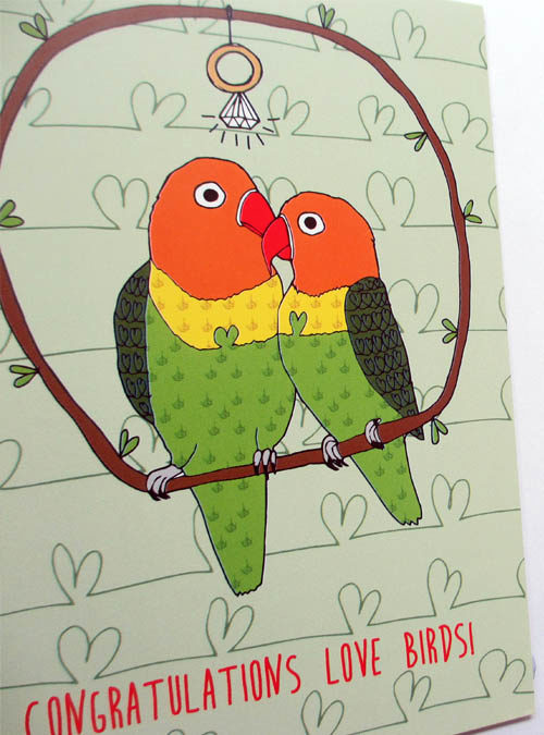 love birds card close up