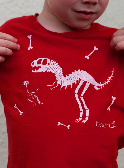 Dinosaur kids T-shirt close up of print