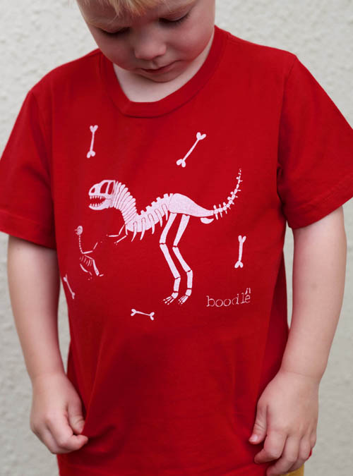 Organic red dinosaur kids T-shirt