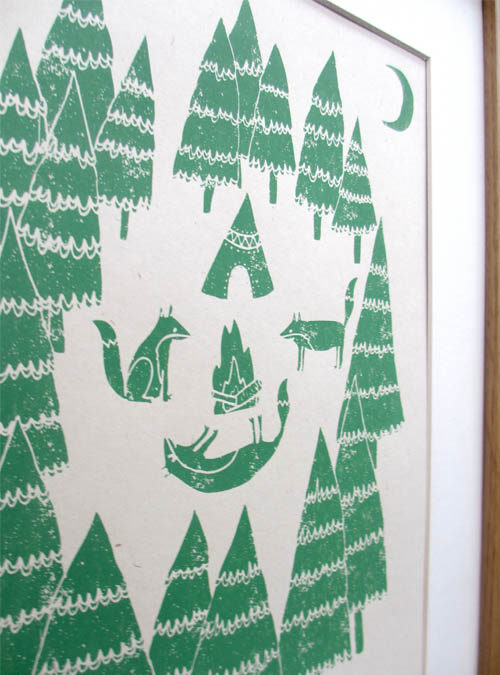 foxes in the forest print close up