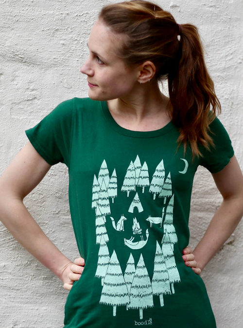 Foxes in the forest womens T-shirt
