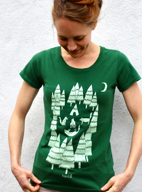 Foxes in the forest womens organic T-shirt.