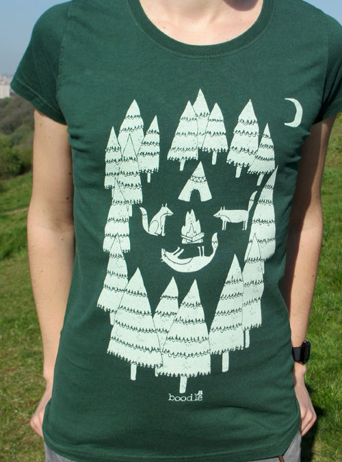 Foxes in the forest womens T-shirt close up