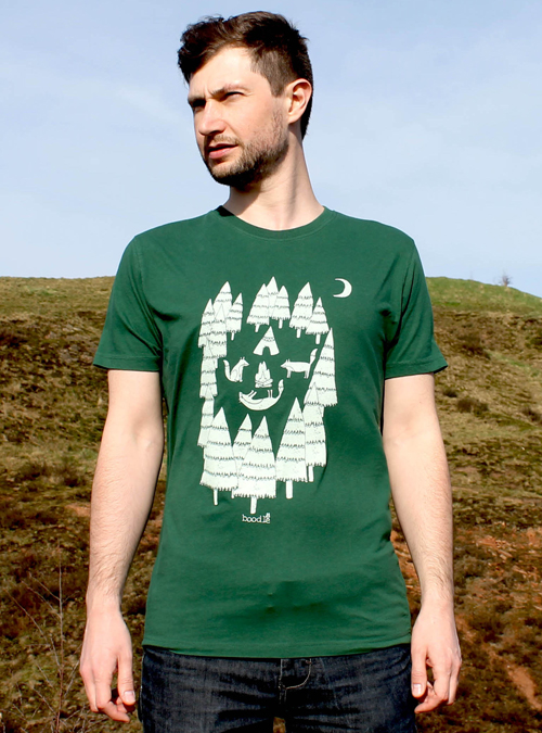 mens fashion, mens T-shirt, Mens tee, animal T-shirt, Fox T-shirt, Foxes in the forest, camping, outdoors, adventure, organic cotton, eco clothing, trees, green tee, mens organic