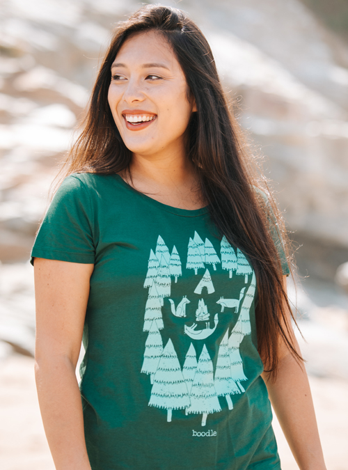 model wearing foxes in forest tee