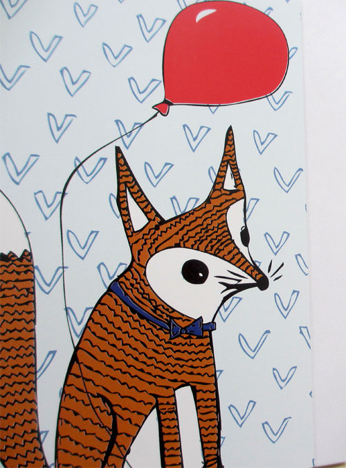 fox and balloon card