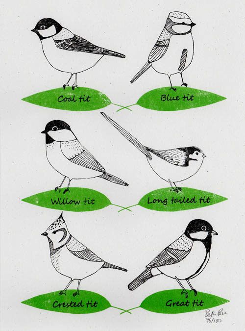 scan of garden birds print
