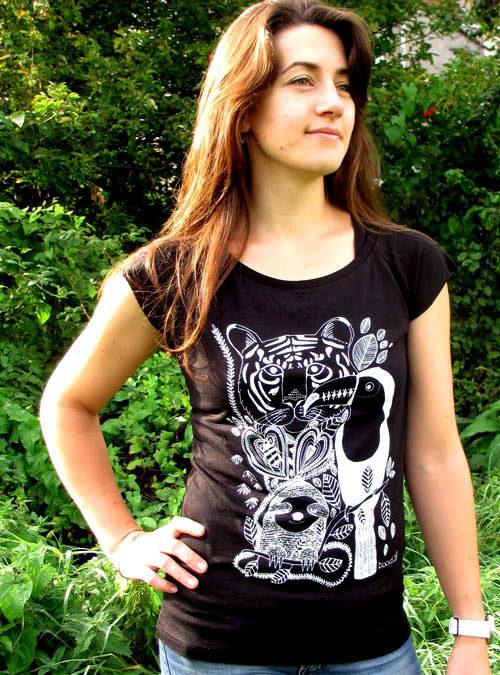 Jungle black womens T-shirt