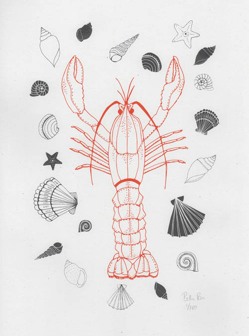 lobster and shell print
