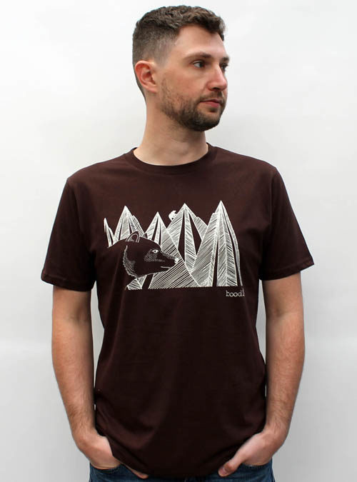 mountain bear mens T-shirt against a white wall
