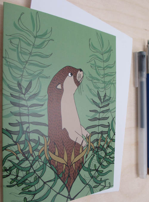 otter and kelp card close up