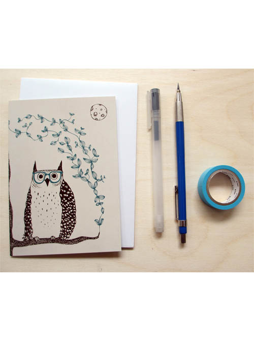 owl and glasses card