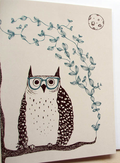 owl card close up