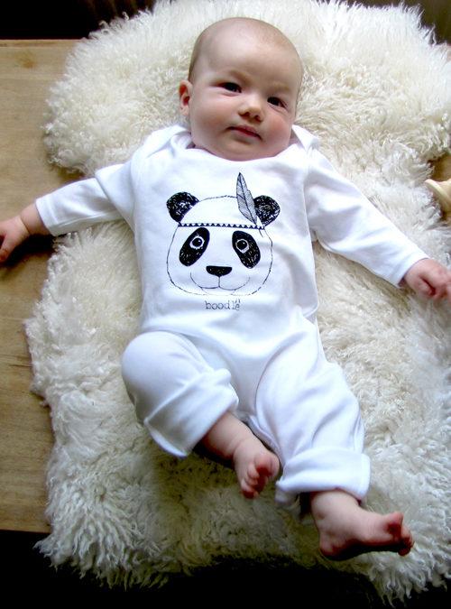 cute organic panda baby grow