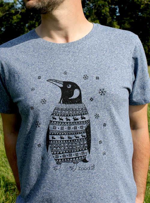 Mens Penguin organic blue T-shirt.