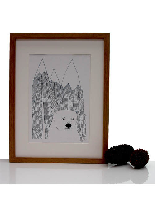 polar bear and mountain print