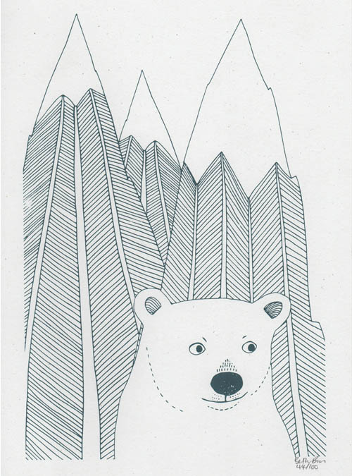 bear and mountain wall art