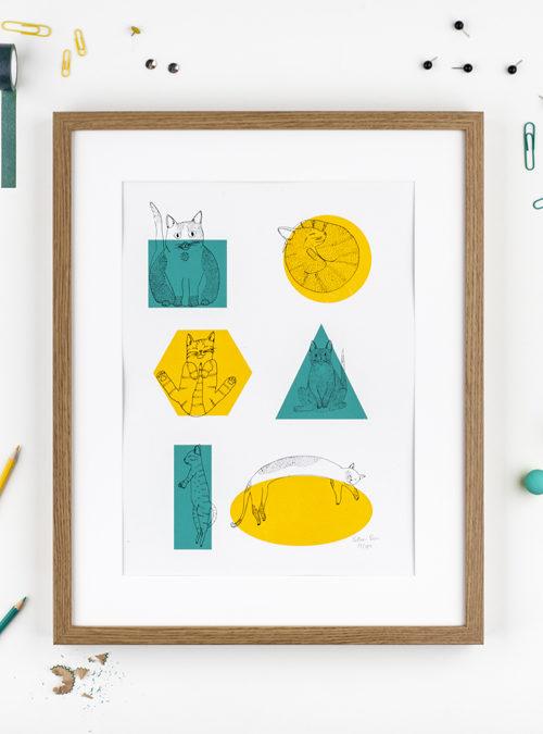shape shifter cat A3 print