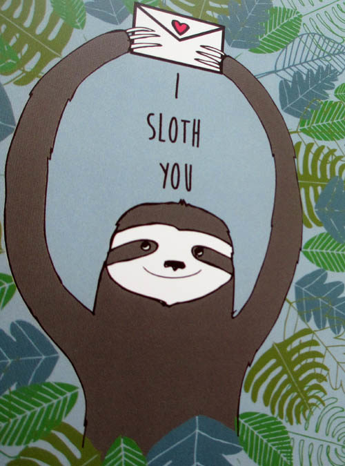 sloth card close up