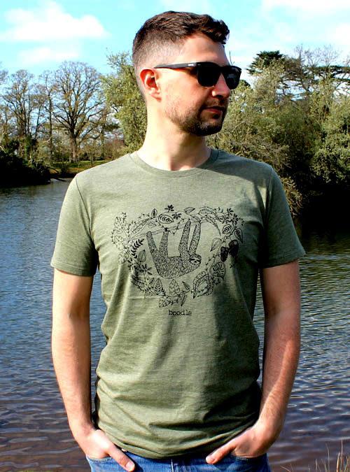 mens green sloth tshirt