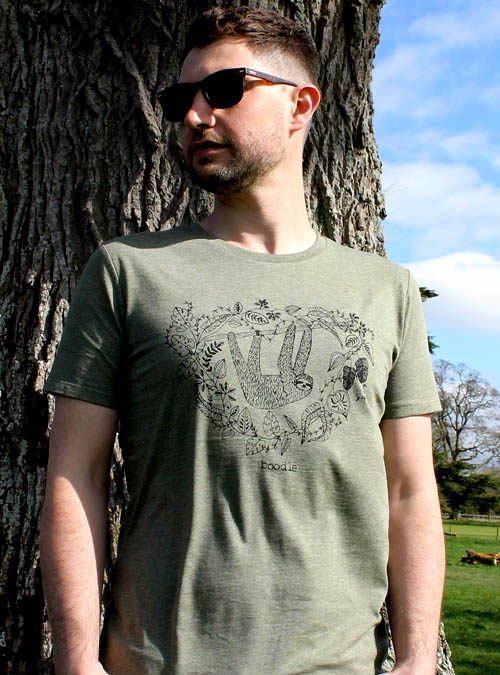Mens khaki green t-shirt with a screen print of a sloth