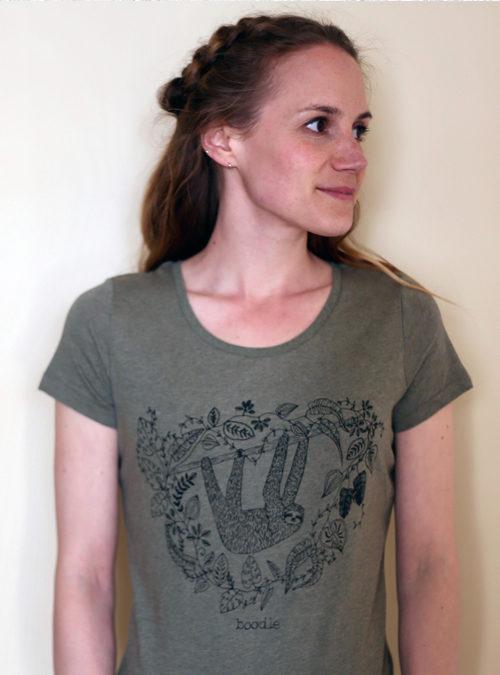 sloth womens T-shirt green khaki