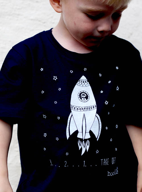 Space kids T-shirt navy blue