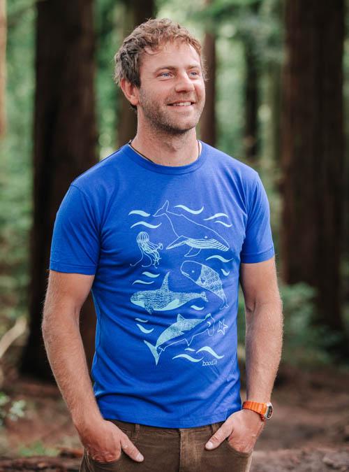 bamboo blue whale T-shirt