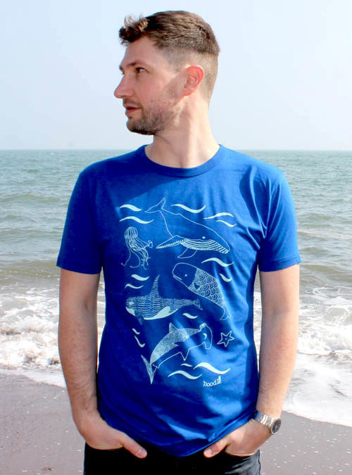 blue bamboo t-shirt featuring an underwater scene