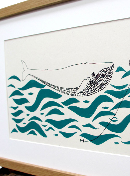whale art print close up