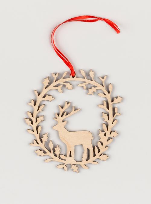 Deer wooden wreath