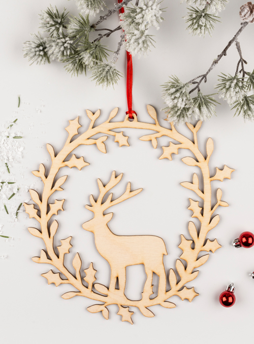 Deer wooden wreath
