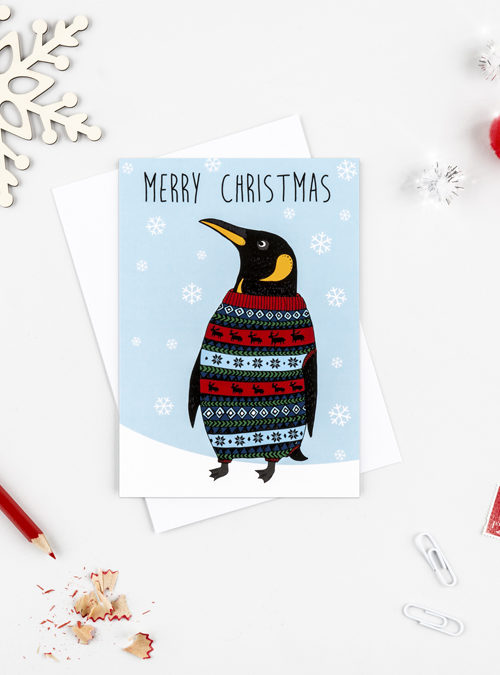 king penguin xmas card