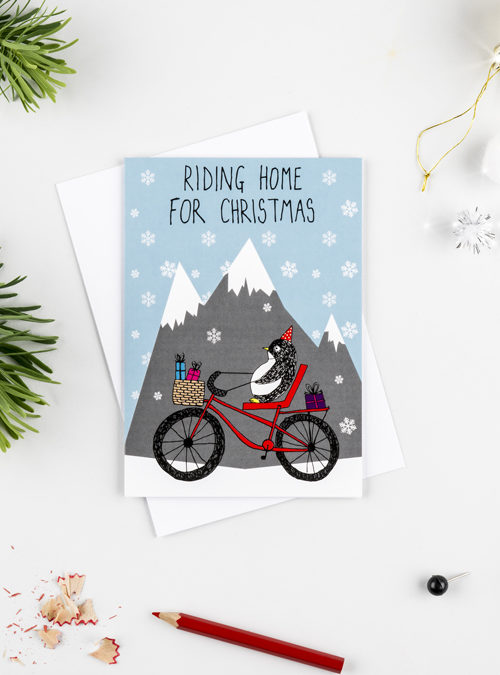 riding home for xmas card