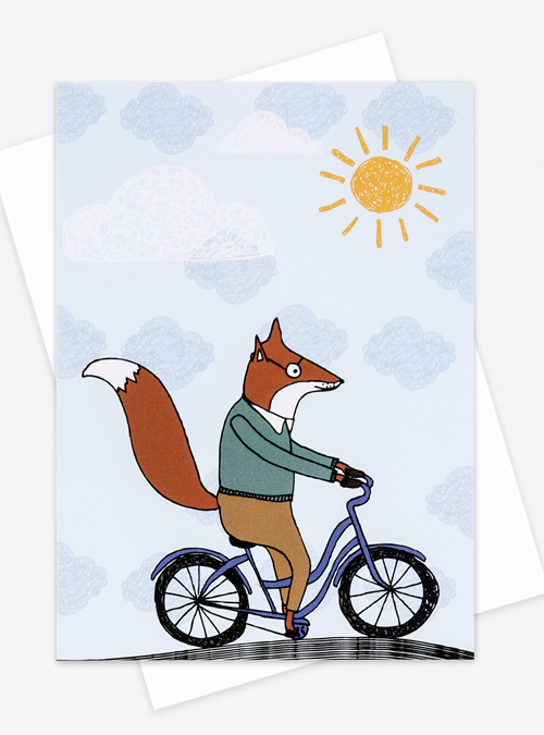 fox on a bike card