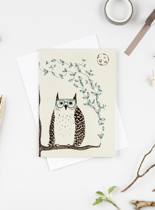 owl with glasses card