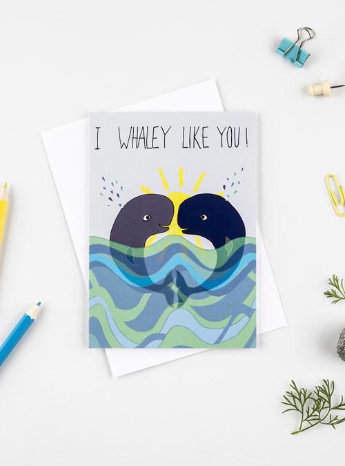 cute whale card