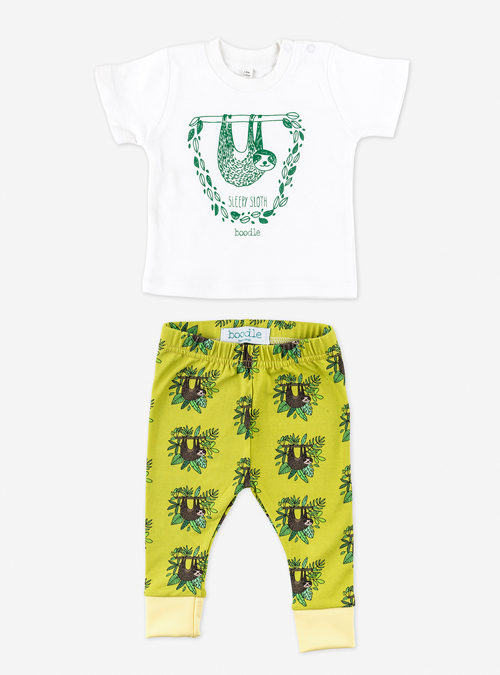 a34b9cb61 Sloth baby outfit. Organic sloth leggings and baby T-shirt set – Boodle