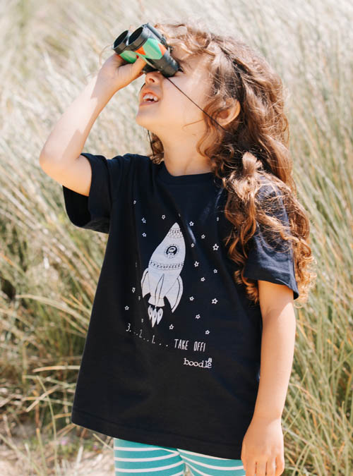 Space kids navy t-shirt
