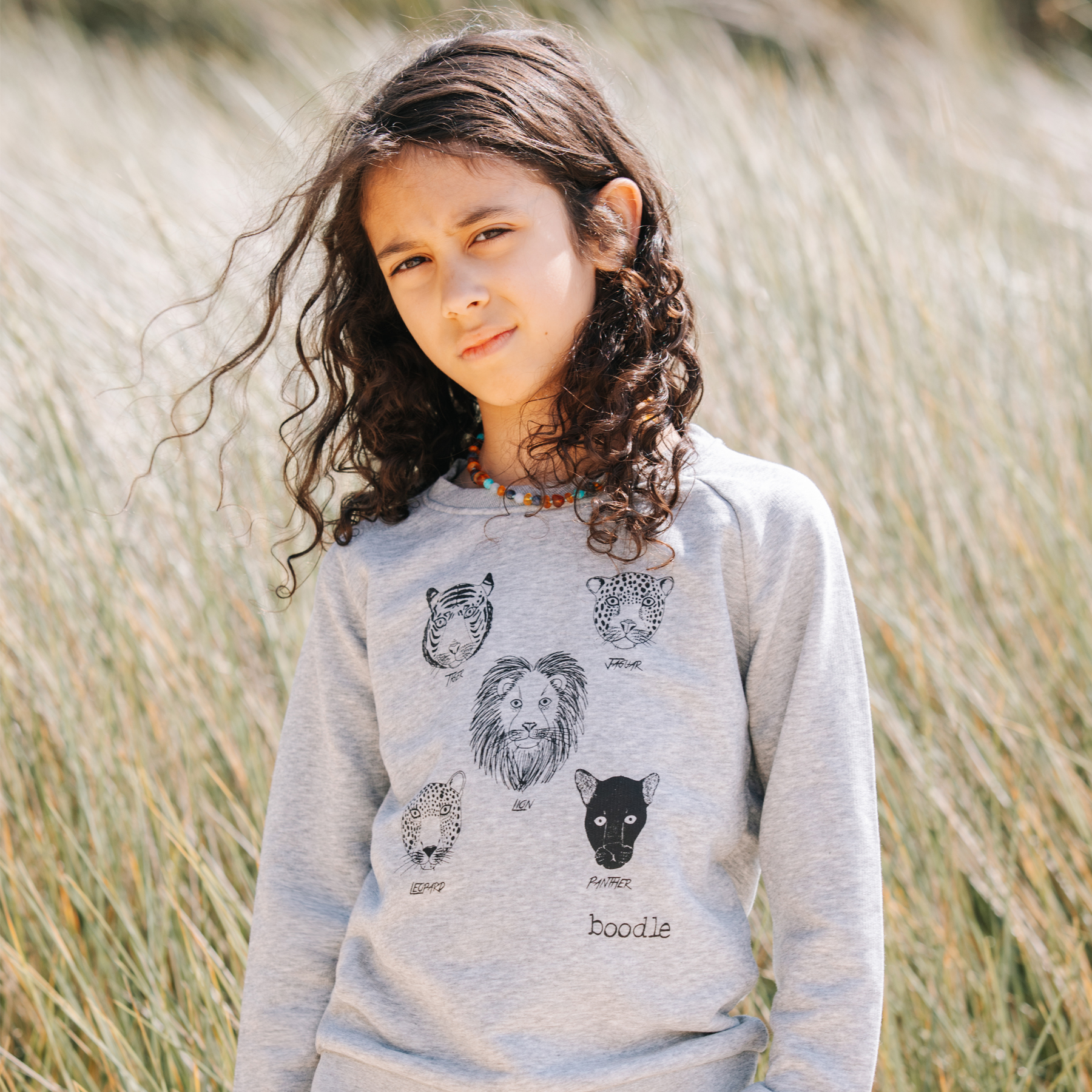 organic kids sweater featuring 5 cats